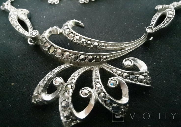 Набор серебро подвеска (кулон) и сережки Винтаж, фото №6