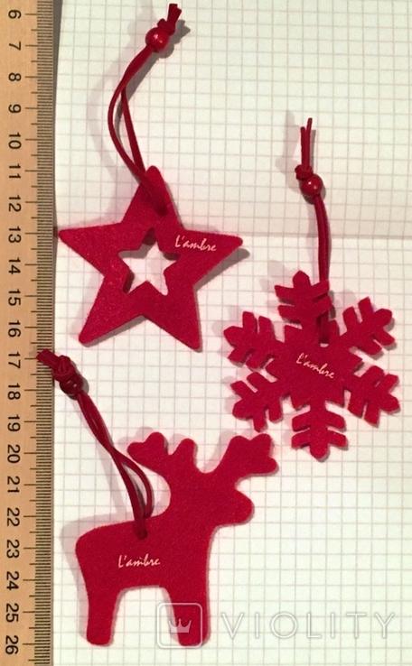 3 брендированные войлочные игрушки L'ambre / Ламбрэ (олень, звезда, снежинка), фото №2