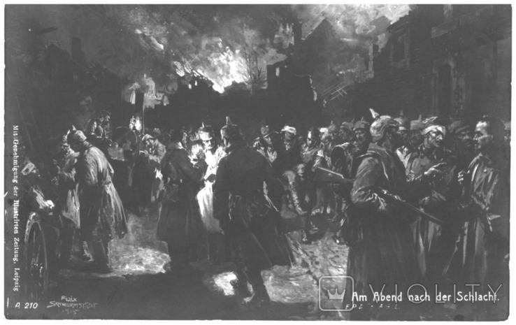 Открытка Вечером после битвы Первая мировая война Лейпциг Германия, фото №2
