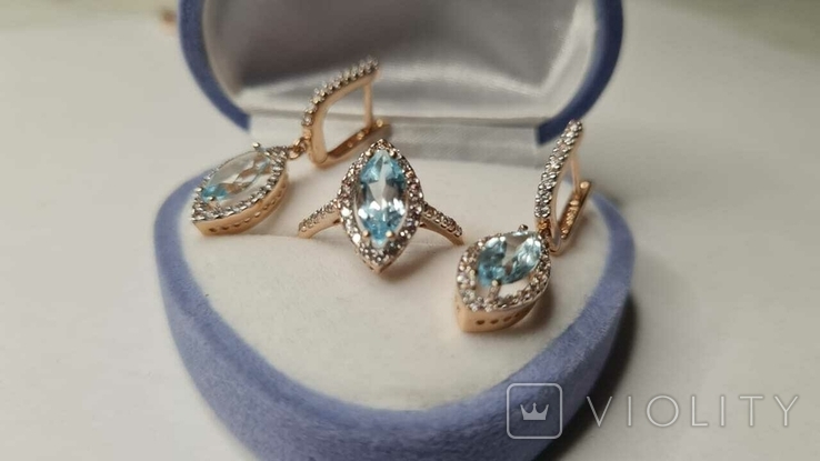 Золотой комплект серьги и кольцо, фото №5