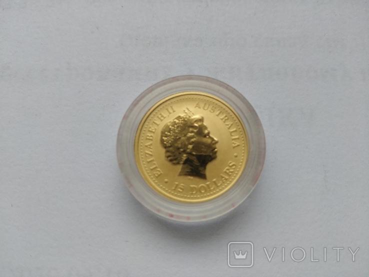 15 долларов. Золото. 1\10 унции, Австралия, 1999, год Кролика, фото №4