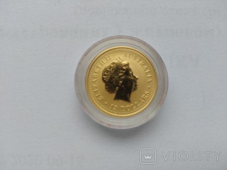 15 долларов. Золото. 1\10 унции, Австралия, 1999, год Кролика, фото №5