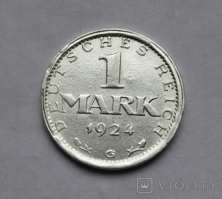 1 марка 1924 г. Монетный двор G, серебро, фото №2