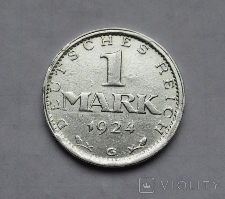1 марка 1924 г. Монетный двор G, серебро, фото №5