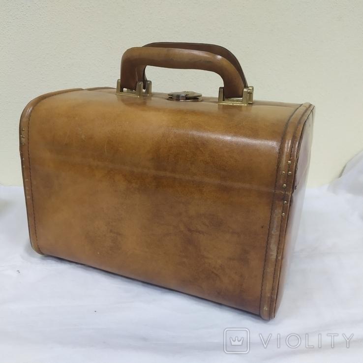 Винтажный кожаный чемоданчик. 29х21х23см, фото №5