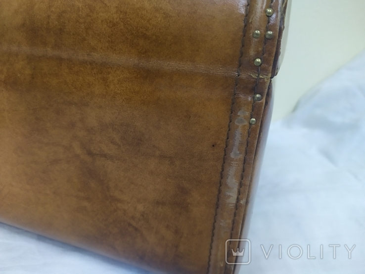 Винтажный кожаный чемоданчик. 29х21х23см, фото №6