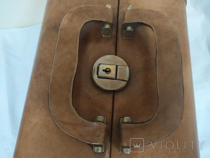 Винтажный кожаный чемоданчик. 29х21х23см, фото №9