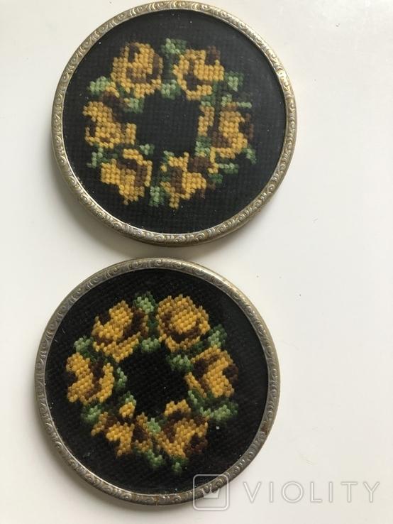 Две  старые подставки, вышивка шерстью. Германия, фото №2