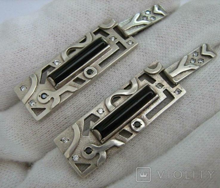 Серебряные Серьги Сережки Английская Застежка Длинные Свисающие 925 проба Серебро 040, фото №2