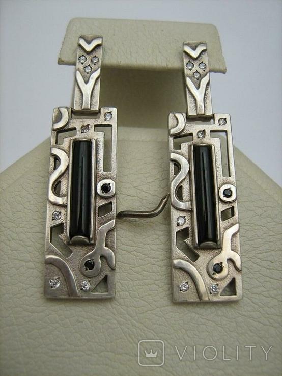 Серебряные Серьги Сережки Английская Застежка Длинные Свисающие 925 проба Серебро 040, фото №3