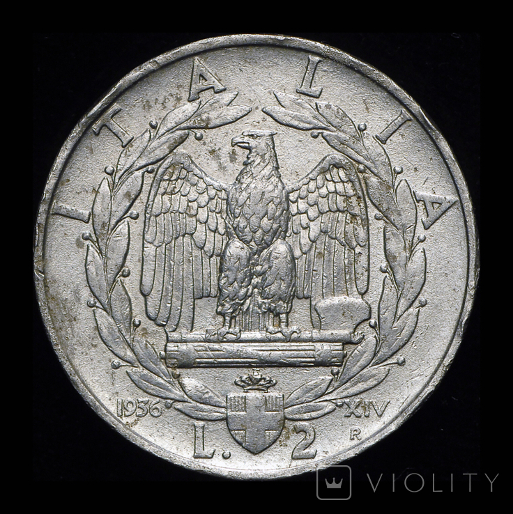 Италия 2 лиры 1936 редкий год, фото №2
