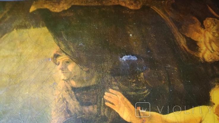 """Репродукция Рембрандт """"Даная"""" на дереве, фото №6"""