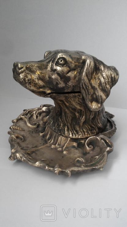 Пепельница Голова собаки. Бронза., фото №2
