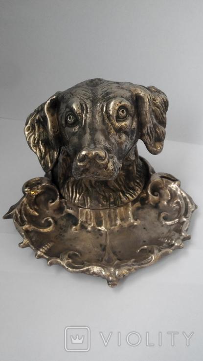 Пепельница Голова собаки. Бронза., фото №4