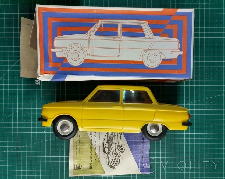 ЗАЗ-968, игрушка с электромеханическим приводом (желтый), пр-во СССР, 1995 г., фото №3