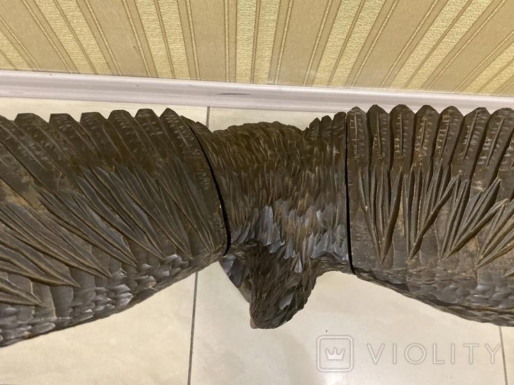 Фигура орла, выполнена из дерева, ручная работа. Размах крыльев 110см., фото №5