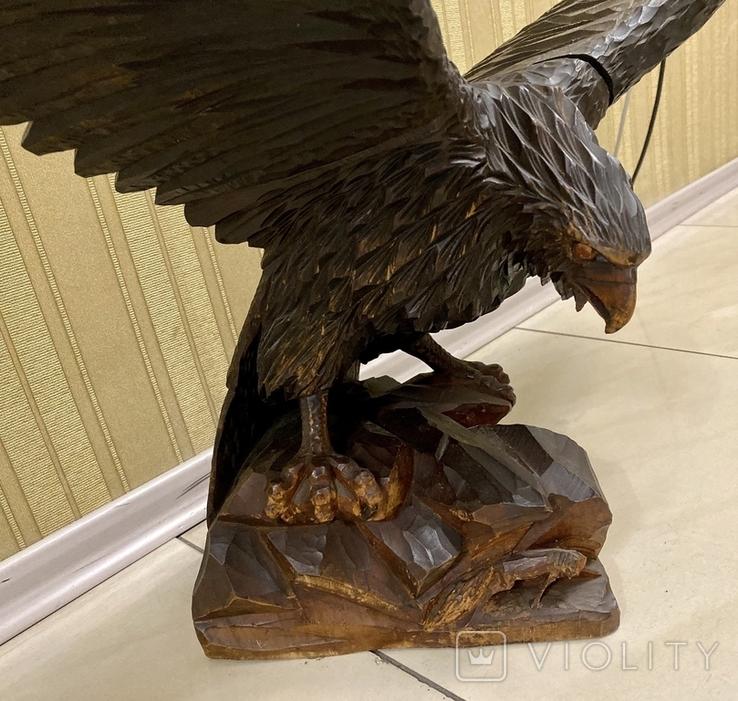 Фигура орла, выполнена из дерева, ручная работа. Размах крыльев 110см., фото №7