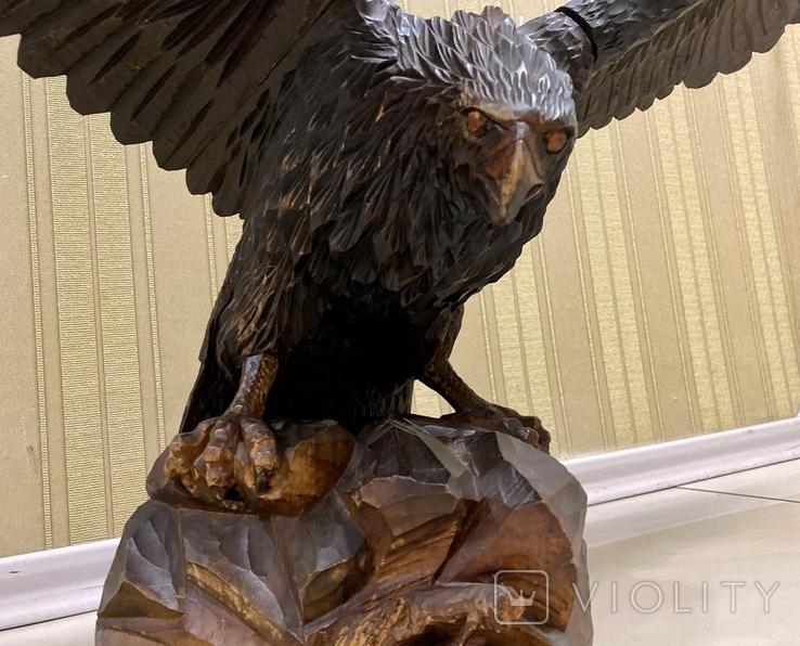 Фигура орла, выполнена из дерева, ручная работа. Размах крыльев 110см., фото №8