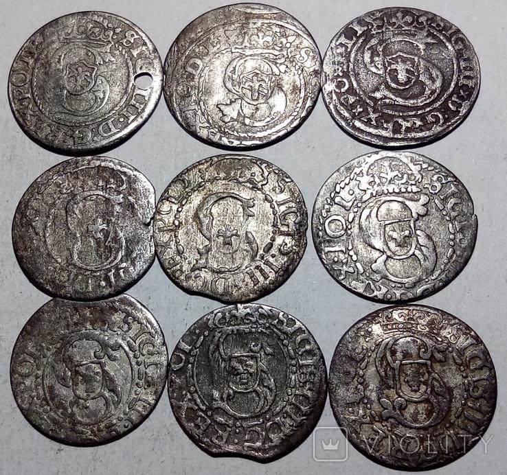 Солиды рижские 1591, 95, 98, 1611, 12, 14, 15, 16 (9 шт.), фото №3