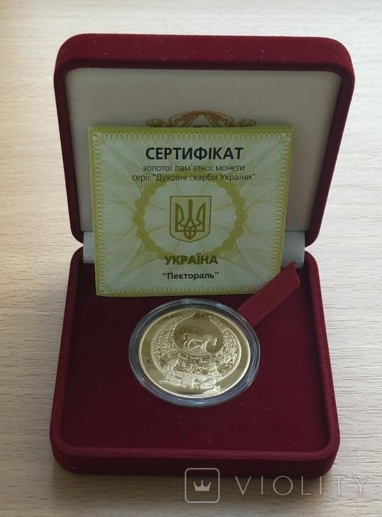100 гривень 2003 року. Пектораль. Золото 31,1 грам. Банківський стан, фото №2