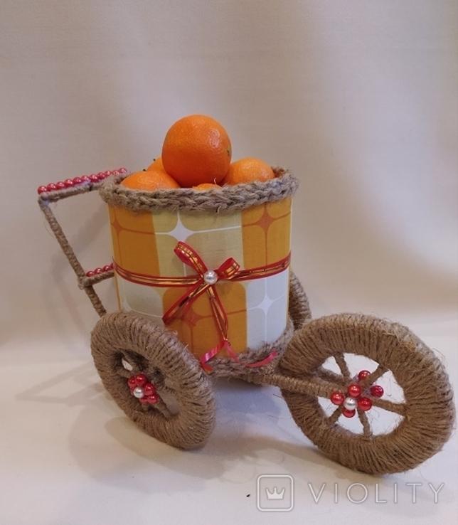 Декоративная корзина -повозка, фото №2