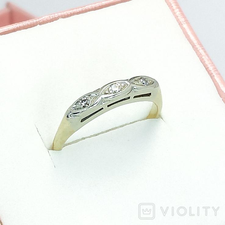 Винтажное миниатюрное золотое кольцо с бриллиантами, фото №2