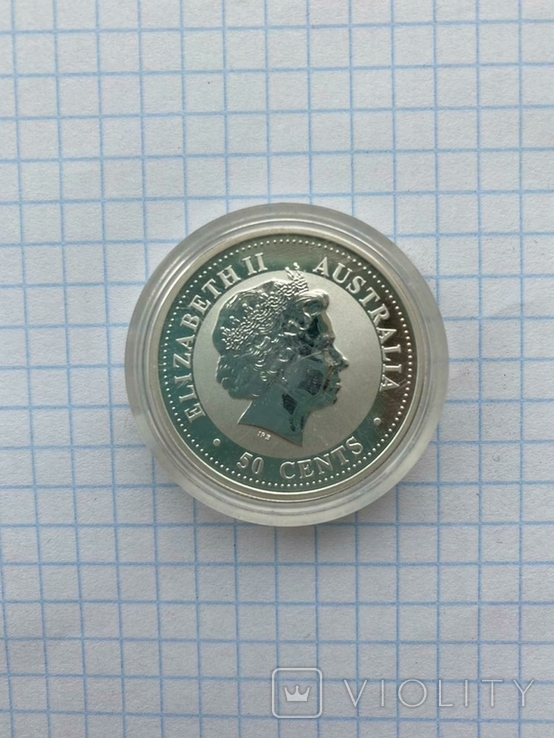 """Серебряная монета """"Год Козы"""" Lunar, 50 центов 2003, фото №3"""