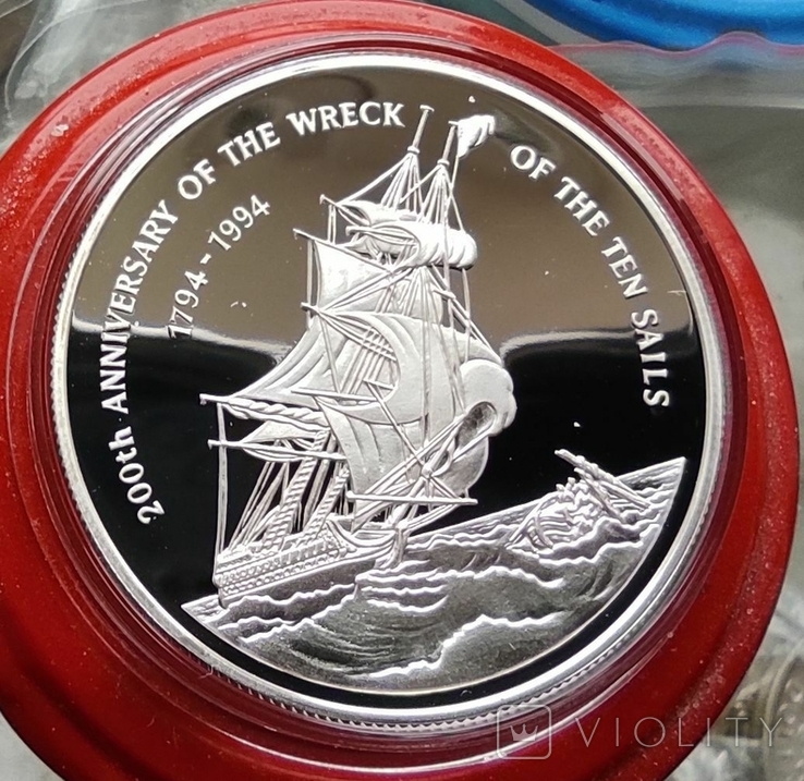 Каймановы острова 2 доллара 1994 г. Серебро. Пруф. Корабль., фото №2