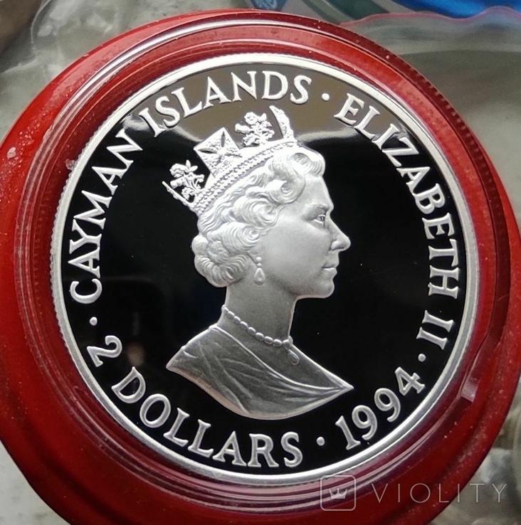 Каймановы острова 2 доллара 1994 г. Серебро. Пруф. Корабль., фото №3