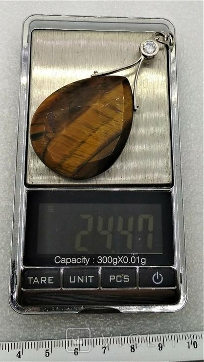 Кулон Подвеска Тигровый Глаз Серебро, фото №10