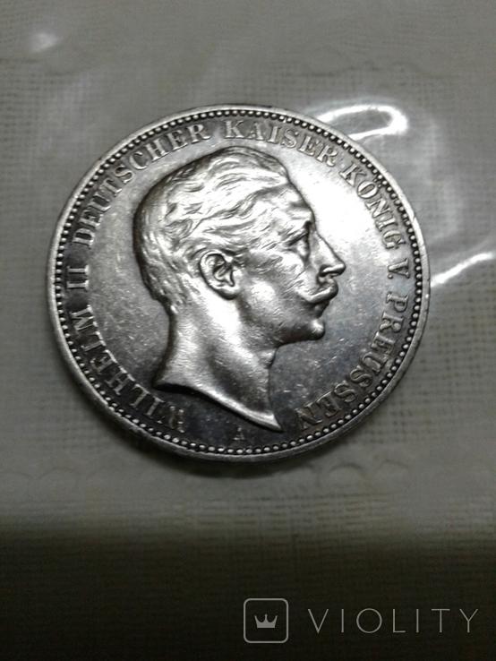 Монета 3 марки, серебро, фото №2