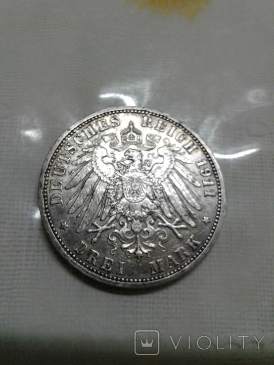 Монета 3 марки, серебро, фото №4