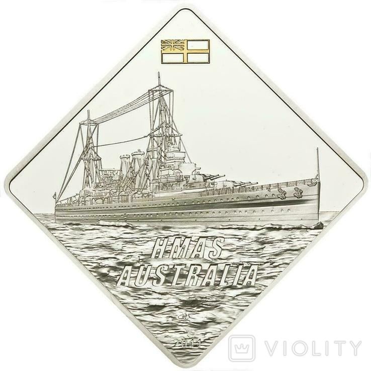 Палау Линкор Гранд Крузер HMAS Австралия 10 долларов 2011. 2 унции серебра(62.2г), фото №2