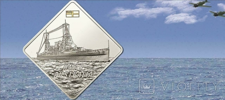 Палау Линкор Гранд Крузер HMAS Австралия 10 долларов 2011. 2 унции серебра(62.2г), фото №4