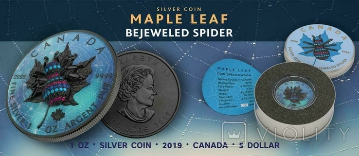Канада 5 долларов 2019 год. Паук 3Д. 1 унция серебра 999 пробы, фото №6