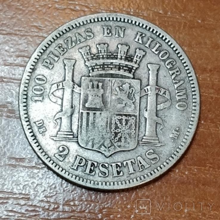 Испания,2 песета,1870 г., фото №2
