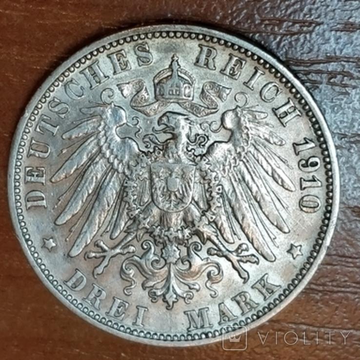 Вюртемберг,3 марки 1910 г., фото №3