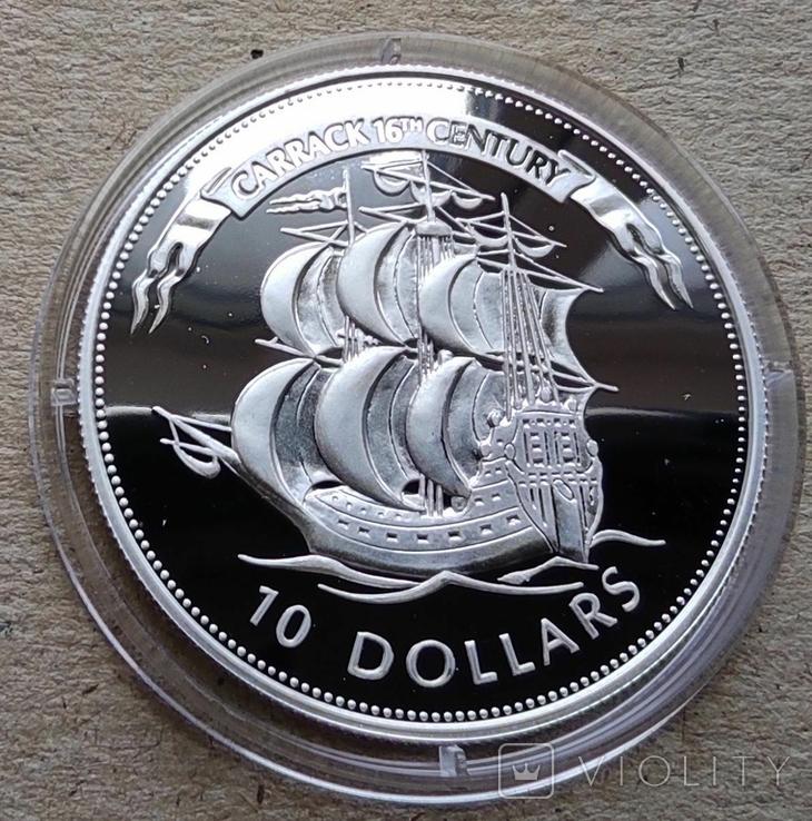 Белиз 10 долларов 1994 г. Серебро. Корабль., фото №2