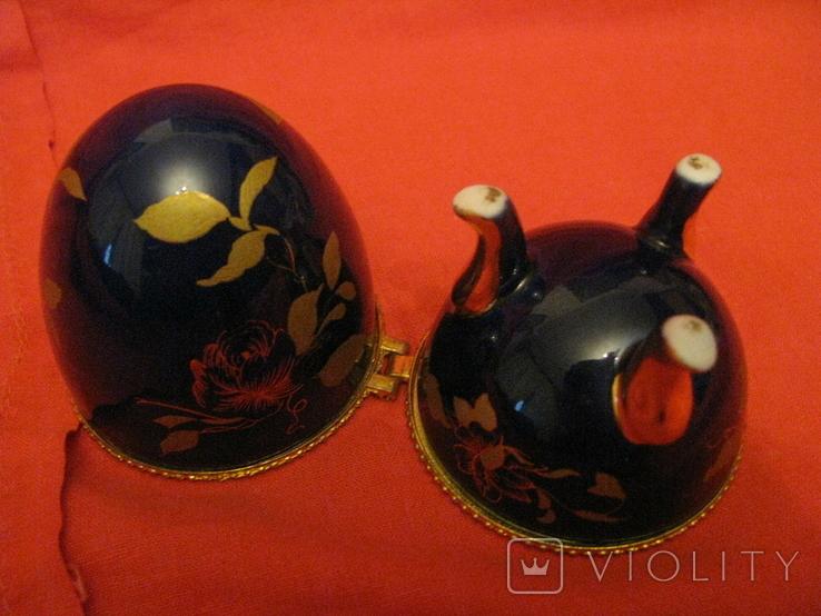 Шкатулка - яйцо -  Листья - кобальт., фото №5