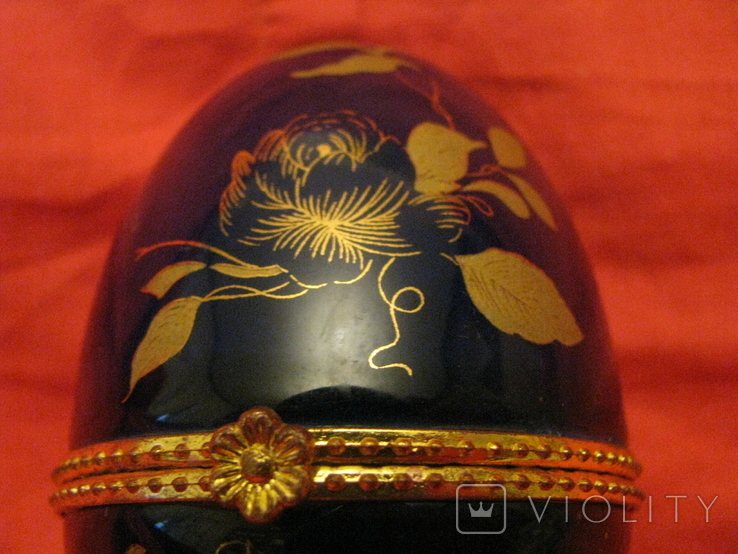 Шкатулка - яйцо -  Листья - кобальт., фото №6