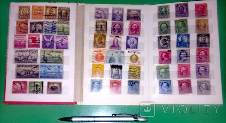 Альбом с  более 50 старых марками США. Президенты., фото №2