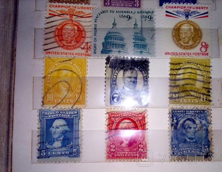 Альбом с  более 50 старых марками США. Президенты., фото №9