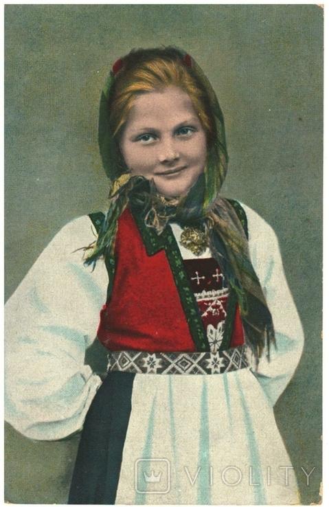 Открытка Девушка в норвежском национальном костюме Норвегия до Второй мировой войны, фото №2