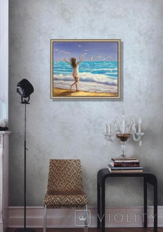 Картина, На крыльях счастья, 50х60 см. Живопись на холсте, фото №3