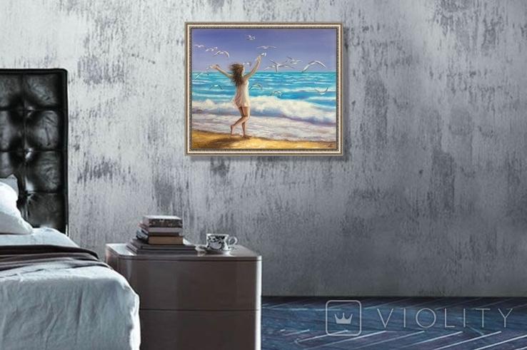 Картина, На крыльях счастья, 50х60 см. Живопись на холсте, фото №4