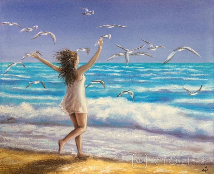 Картина, На крыльях счастья, 50х60 см. Живопись на холсте, фото №5