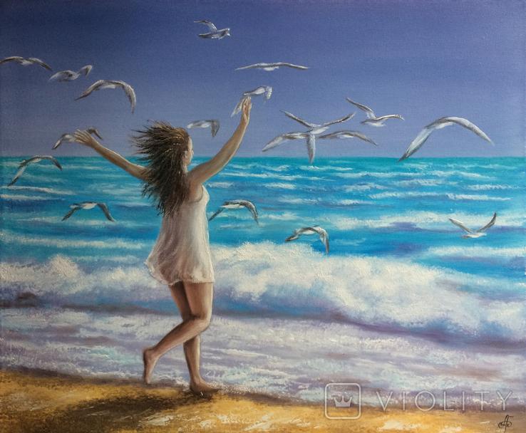 Картина, На крыльях счастья, 50х60 см. Живопись на холсте, фото №7