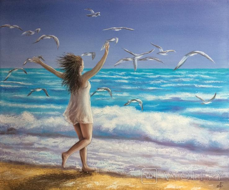 Картина, На крыльях счастья, 50х60 см. Живопись на холсте, фото №8