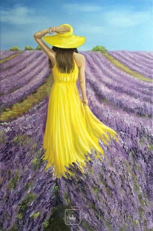 Картина, В жовтому на лавандовому, 60х40см. Живопис на полотні, фото №4