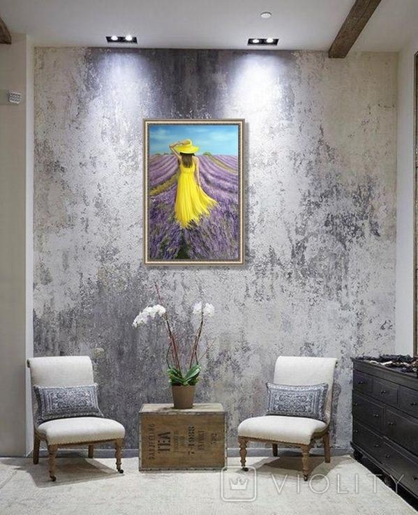 Картина, В жовтому на лавандовому, 60х40см. Живопис на полотні, фото №8